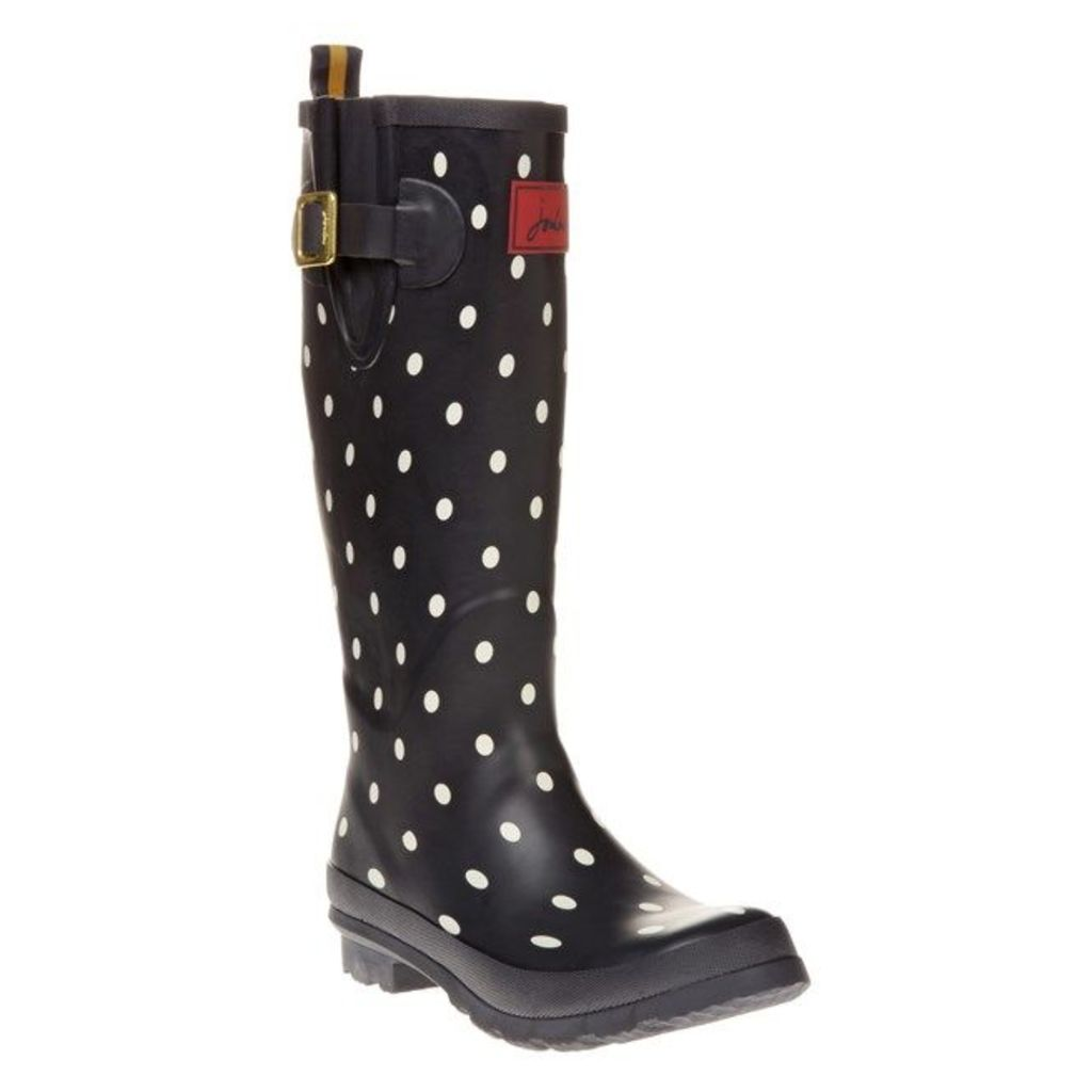 Joules Welly Print Boots, Navy Spot
