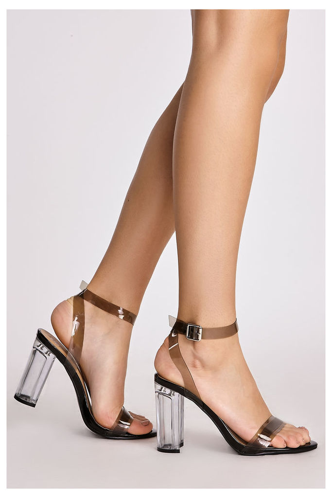 Black Heels - Tamira Black Strappy Clear Heels