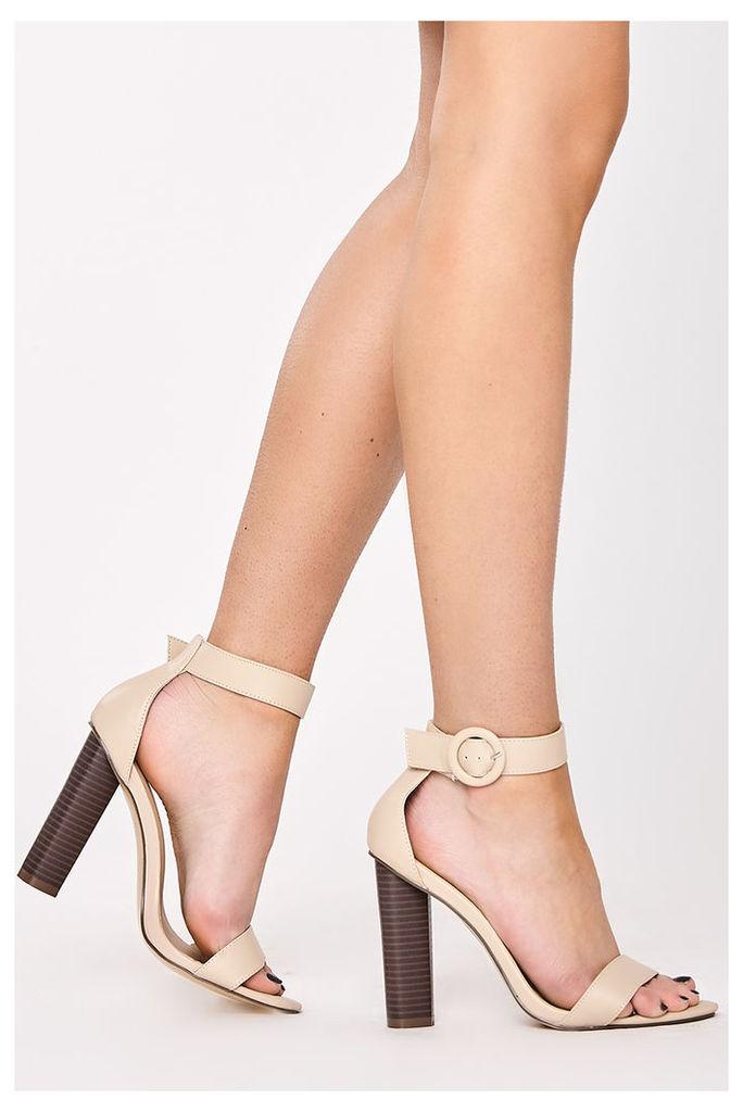 Nude Heels - Eliana Nude Leather Ankle Strap Heels