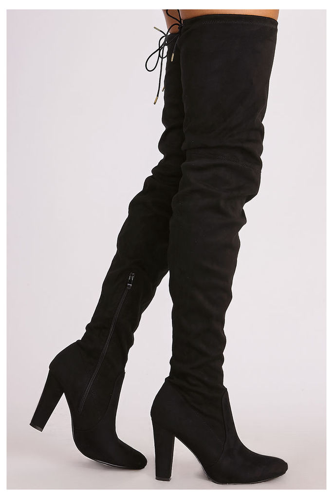 Black Boots - Mckenna Black Faux Suede Thigh High Heeled Boots