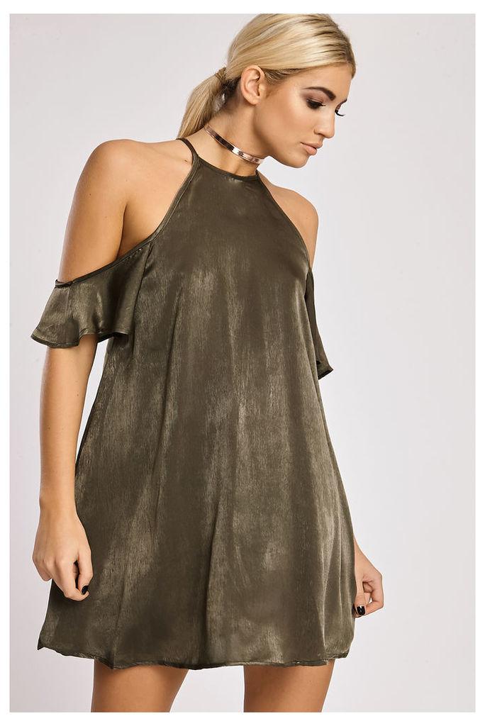 Khaki Dresses - Zariya Khaki Metallic Cold Shoulder Dress