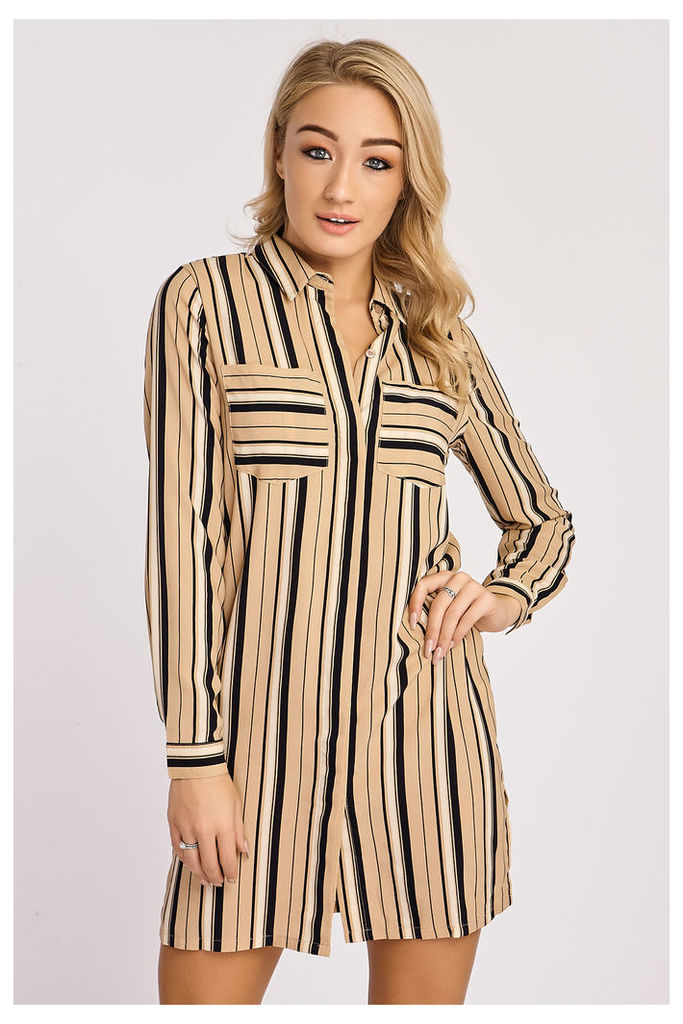Camel Dresses - Kailey Camel and Navy Striped Shirt Dress