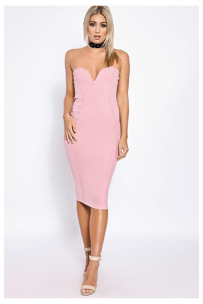 Pink Dresses - Seraphina Pink Seam Detail Plunge Midi Dress