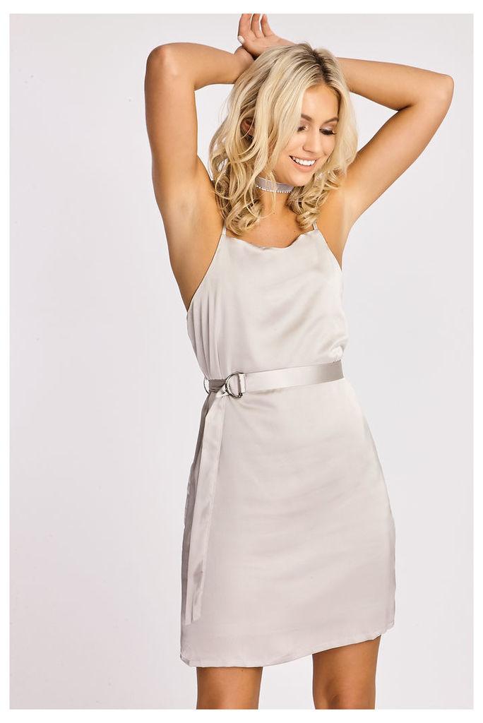 Grey Belts - Rebekka Grey Satin Slip Dress with Belt