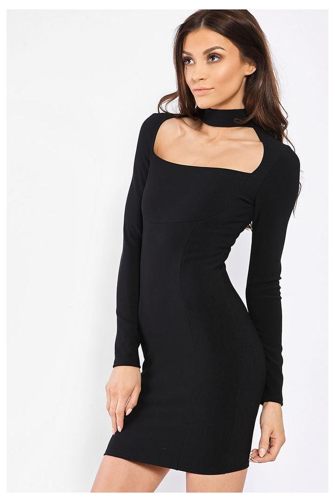 Black Dresses - Carine Black Choker Neck Panelled Bodycon Dress