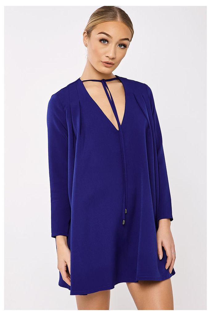 Blue Dresses - Binky Cobalt Blue Pleated Swing Dress
