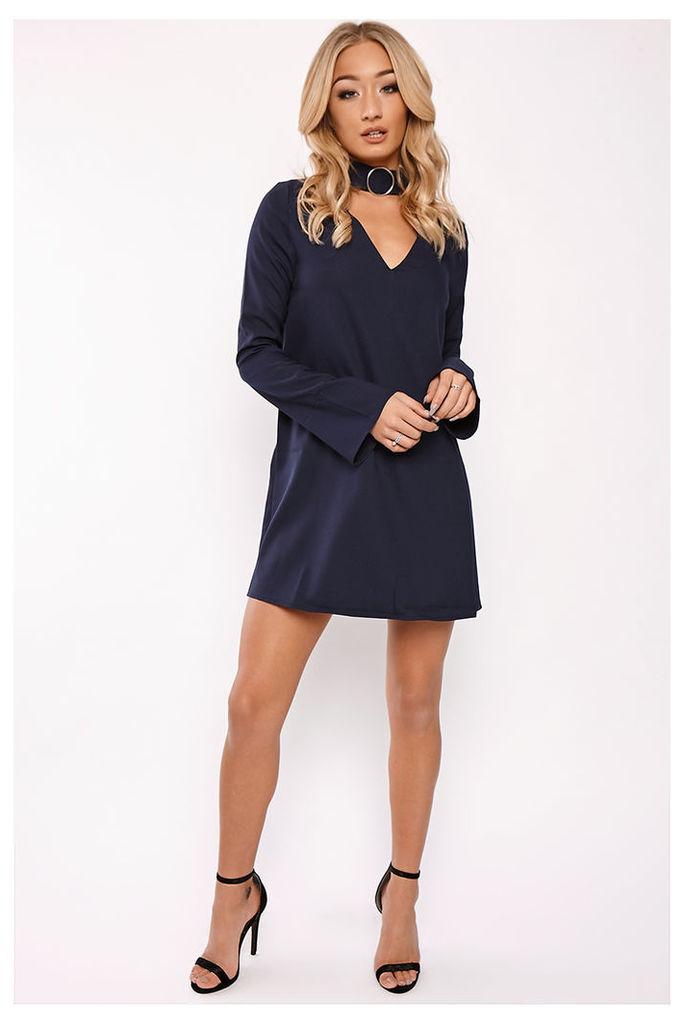 Navy Dresses - Keri Navy Ring Detail Choker Dress