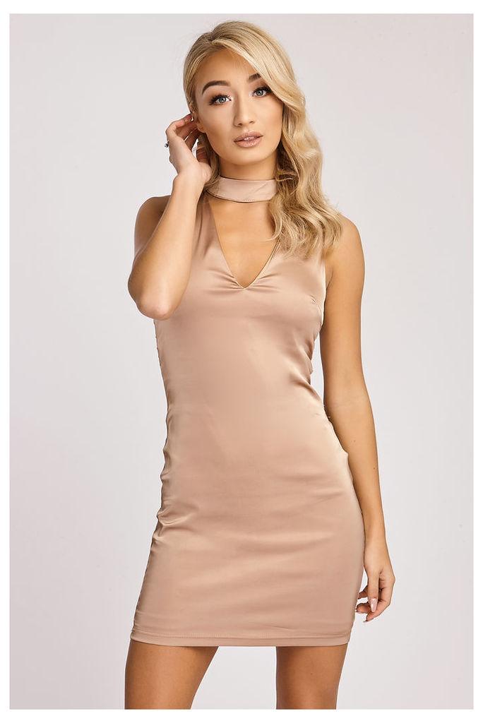 Gold Dresses - Luzmila Rose Gold Silky Choker Neck Dress