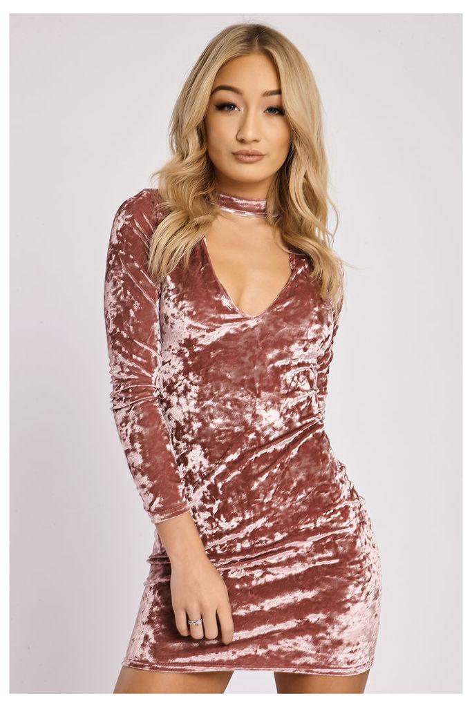 Rose Dresses - Cindi Dark Rose Crushed Velvet Cut Out Choker Neck Dress