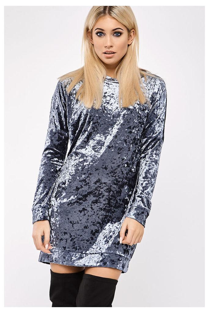 Teal Dresses - Emmie Teal Grey Crushed Velvet Oversized Jumper Dress