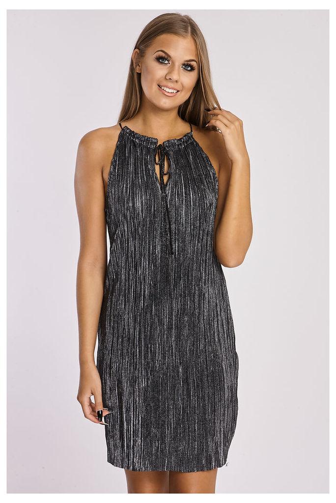 Black/silver Dresses - Shanaya Metallic Black Satin Pleated High Frill Neck Dress
