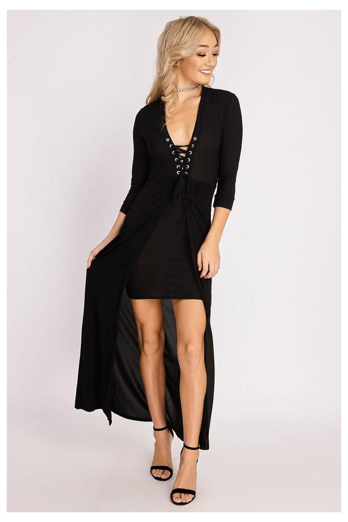 Black Dresses - Kailee Black Lace Up Maxi Overlay Dress