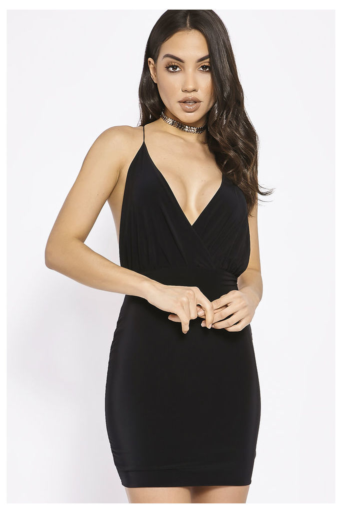 Black Dresses - Ammie Black Plunge Slinky Cross Back Dress