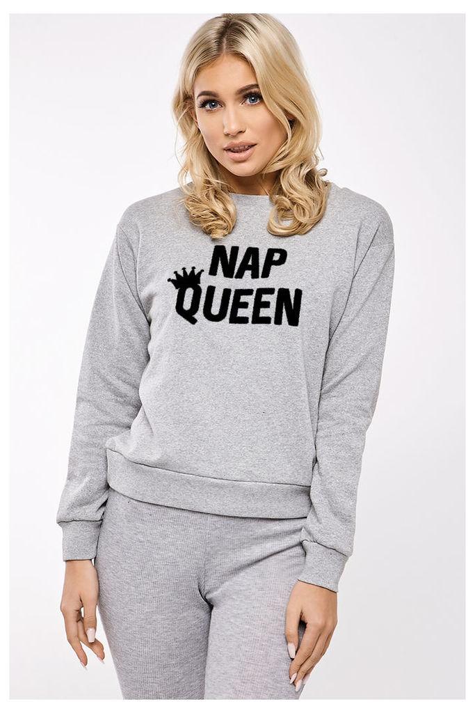 Grey Sweaters - Billie Faiers Nap Queen Slogan Basic Round Neck Grey Sweater