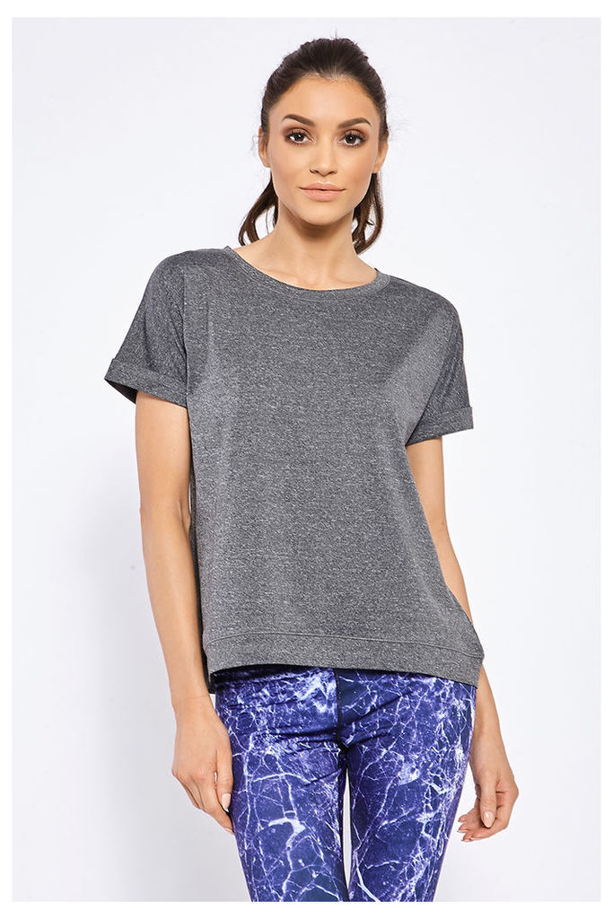 Grey Shirts - Active Grey Roll Sleeve t Shirt