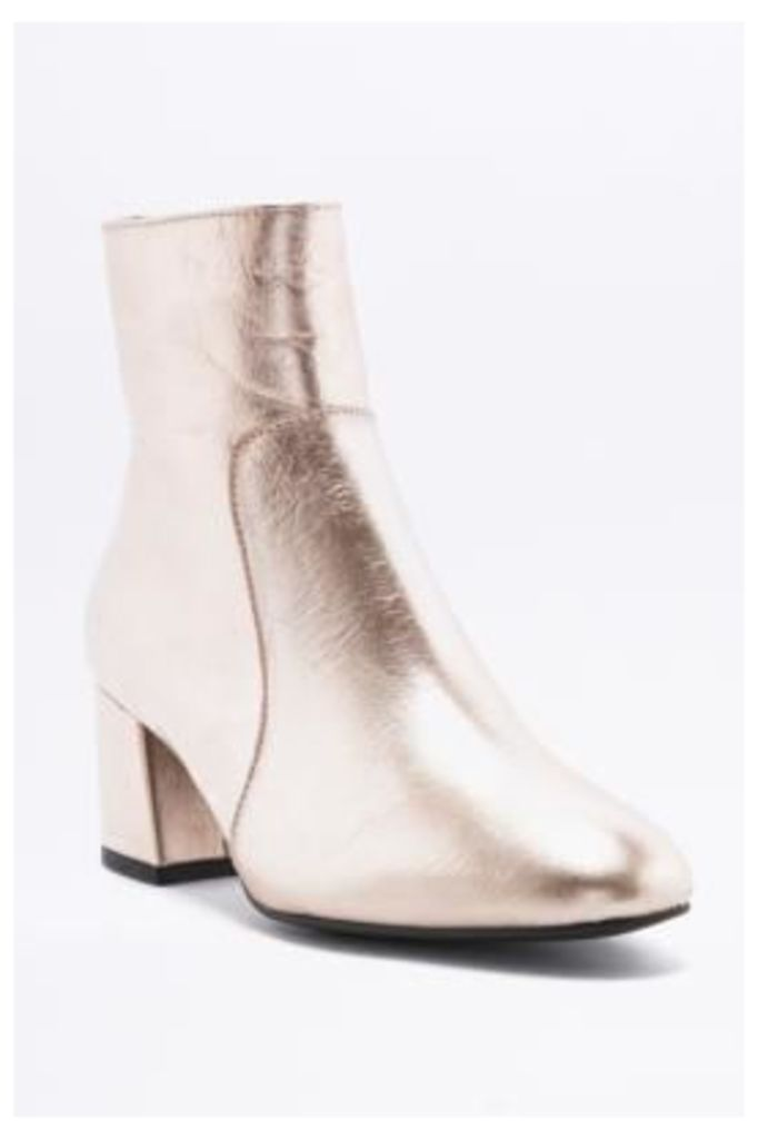Poppy Metallic Rose Gold Leather Ankle Boots, ROSE