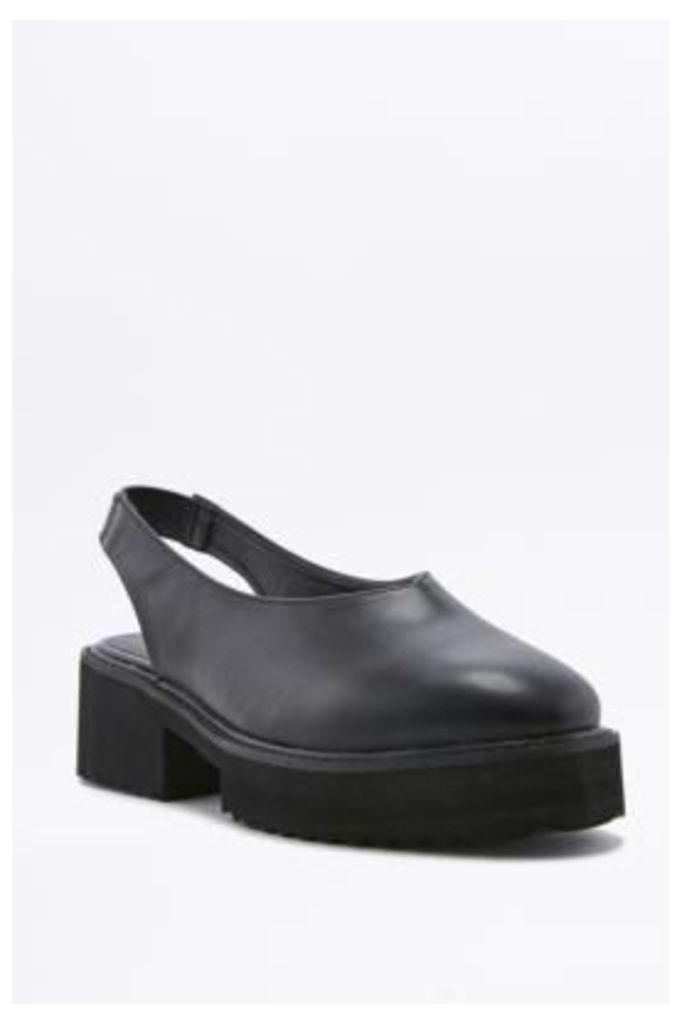 Hazel Black Chunky Slingback Loafers, BLACK