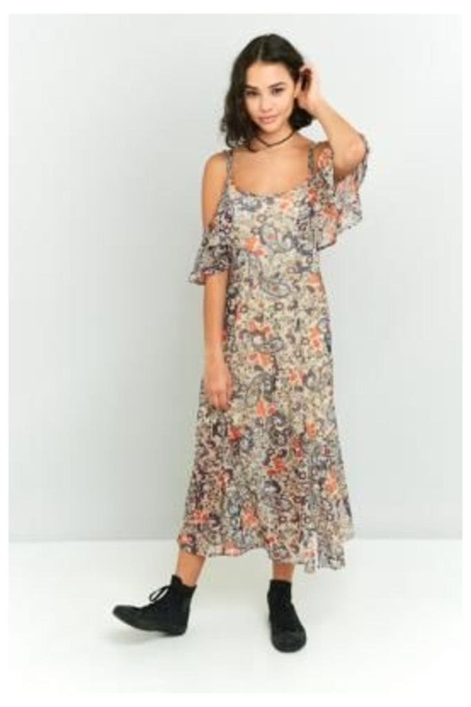 Staring At Stars Floral Ruffle Cold Shoulder Maxi Dress, NUDE/CHAIR
