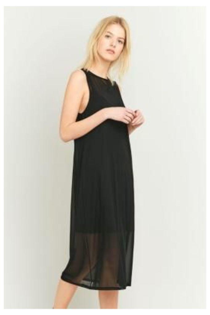 Sparkle & Fade Mesh Tank Black Midi Dress, BLACK