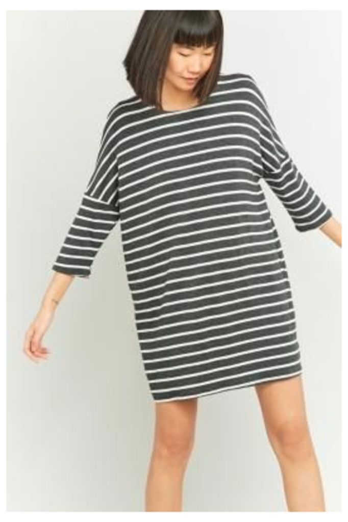 BDG Grey Breton Striped Tunic Dress, DARK GREY