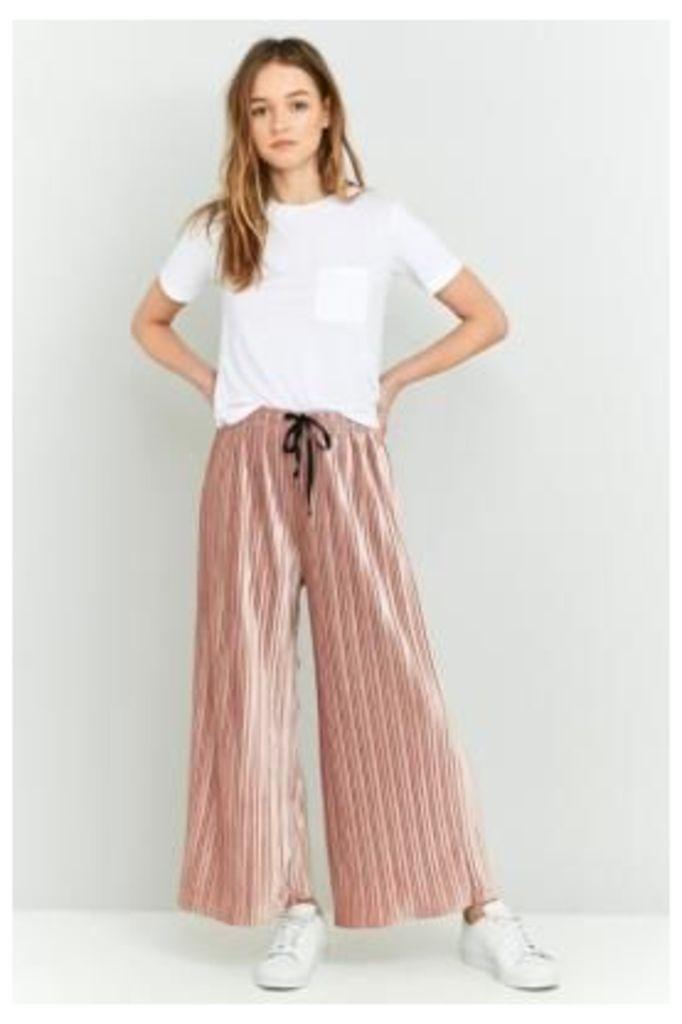 Light Before Dark Velvet Plisse Wide-Leg Trousers, PINK