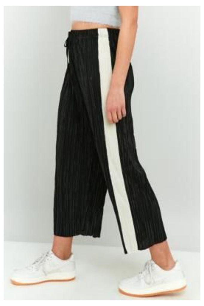 Light Before Dark Awkward Length Side Stripe Plisse Trousers, BLACK & WHITE