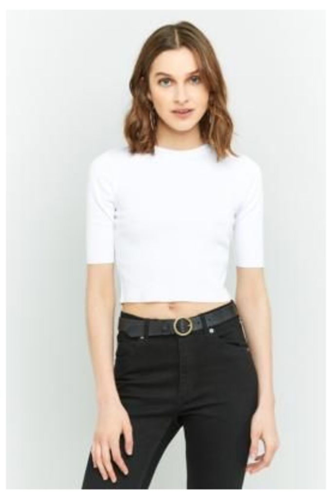 Urban Outfitters Ribbed Crop Top, WHITE