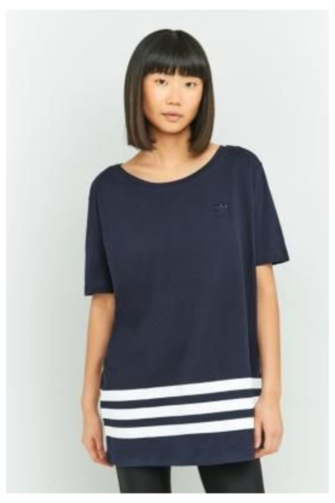 adidas Originals 3-Stripe Oversized T-Shirt, BLACK