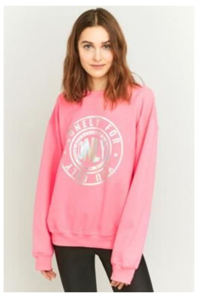 BDG Lonely For You Only Holographic Sweatshirt, PINK
