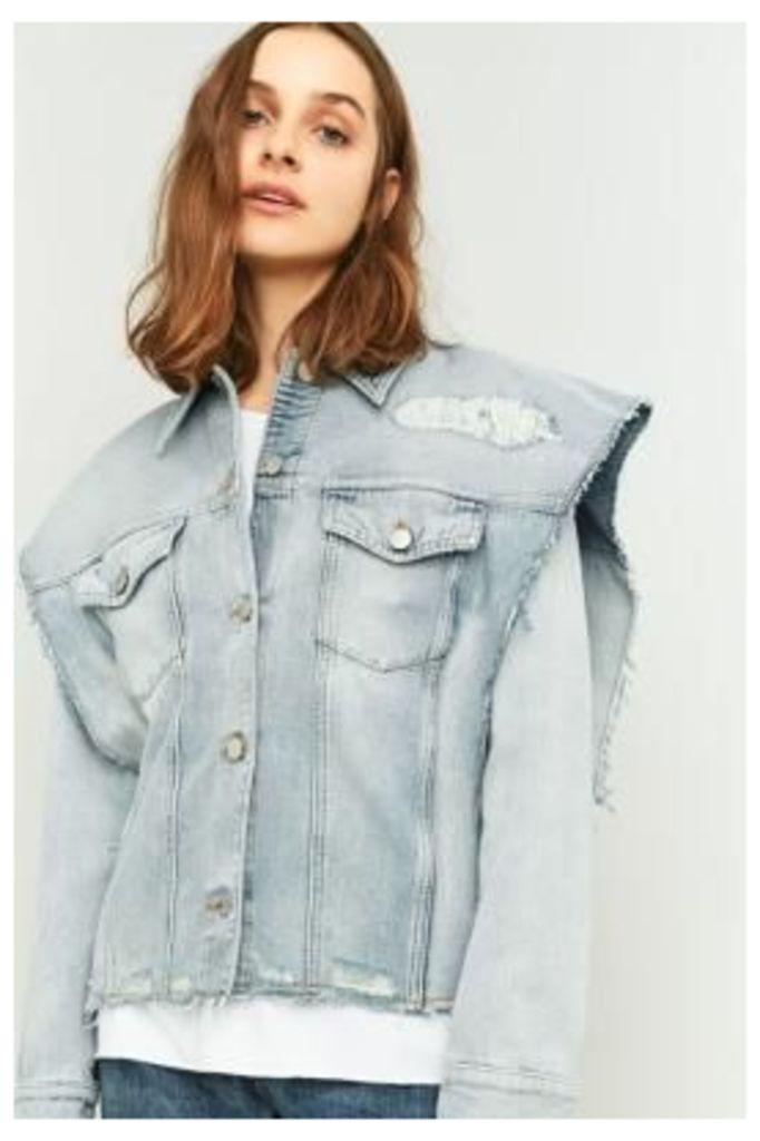 MM6 Oversized Shoulder Denim Jacket, BLUE