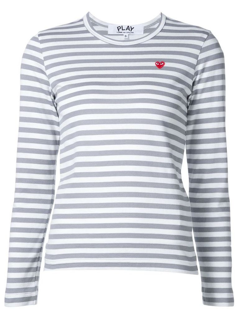 Comme Des Garçons Play - mini heart striped T-shirt - women - Cotton - S, Grey
