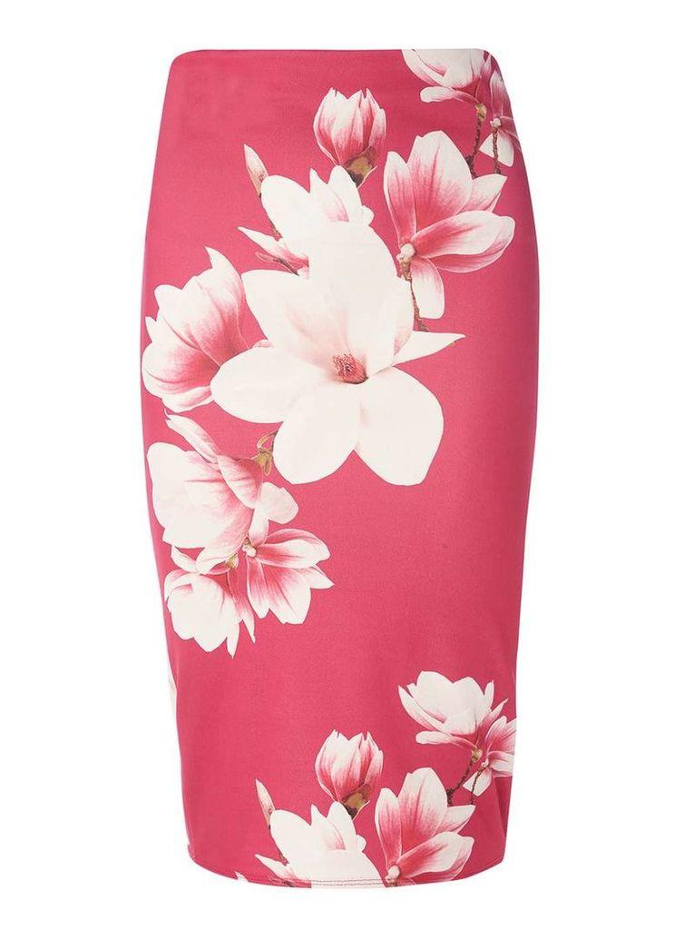 Womens Pink Pencil Skirt- Pink