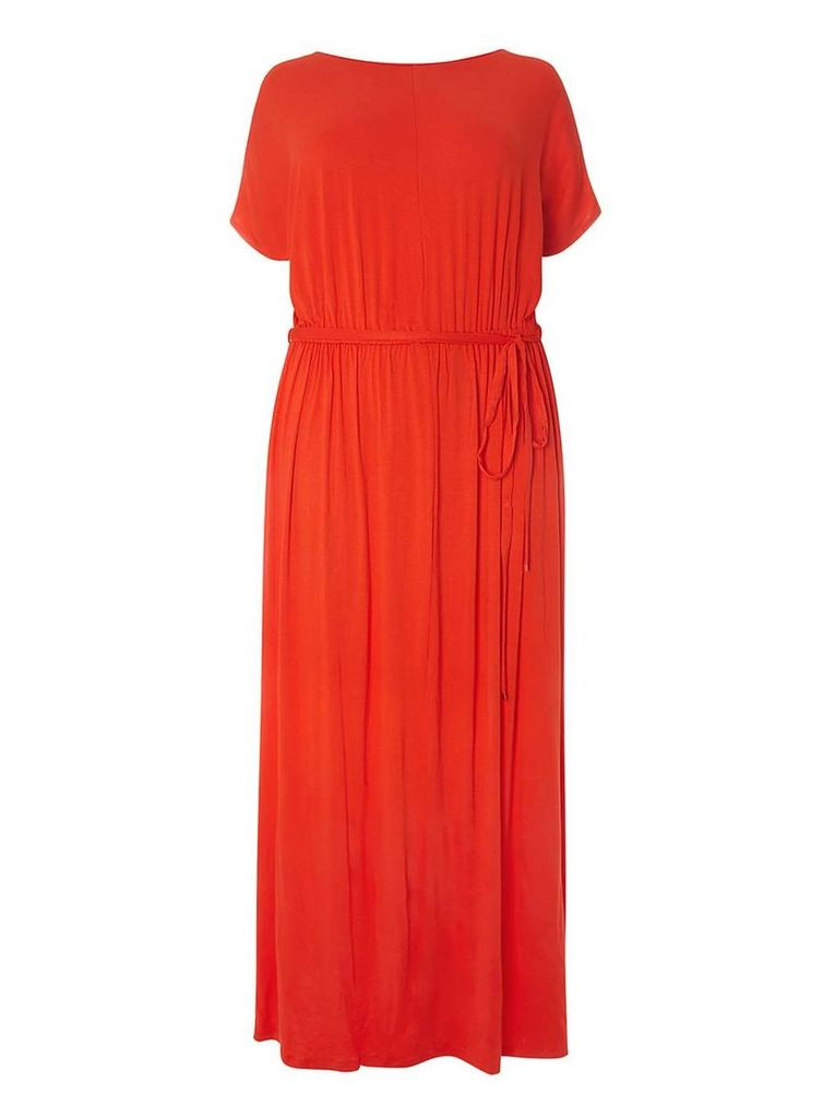 Womens DP Curve Plus Size Red Jersey Cold Shoulder Maxi Dress- Red