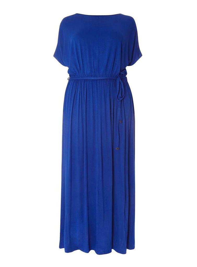 Womens DP Curve Plus Size Cobalt Jersey Cold Shoulder Maxi Dress- Cobalt