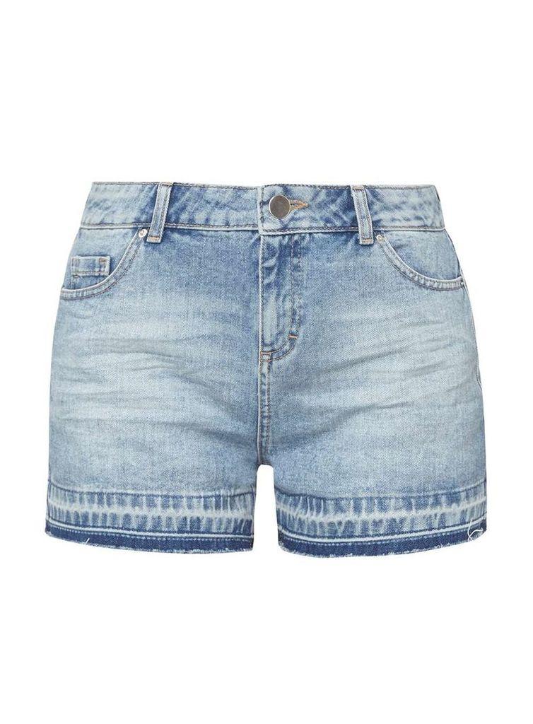 Womens Petite Mid Wash Let Down Hem Shorts- Blue