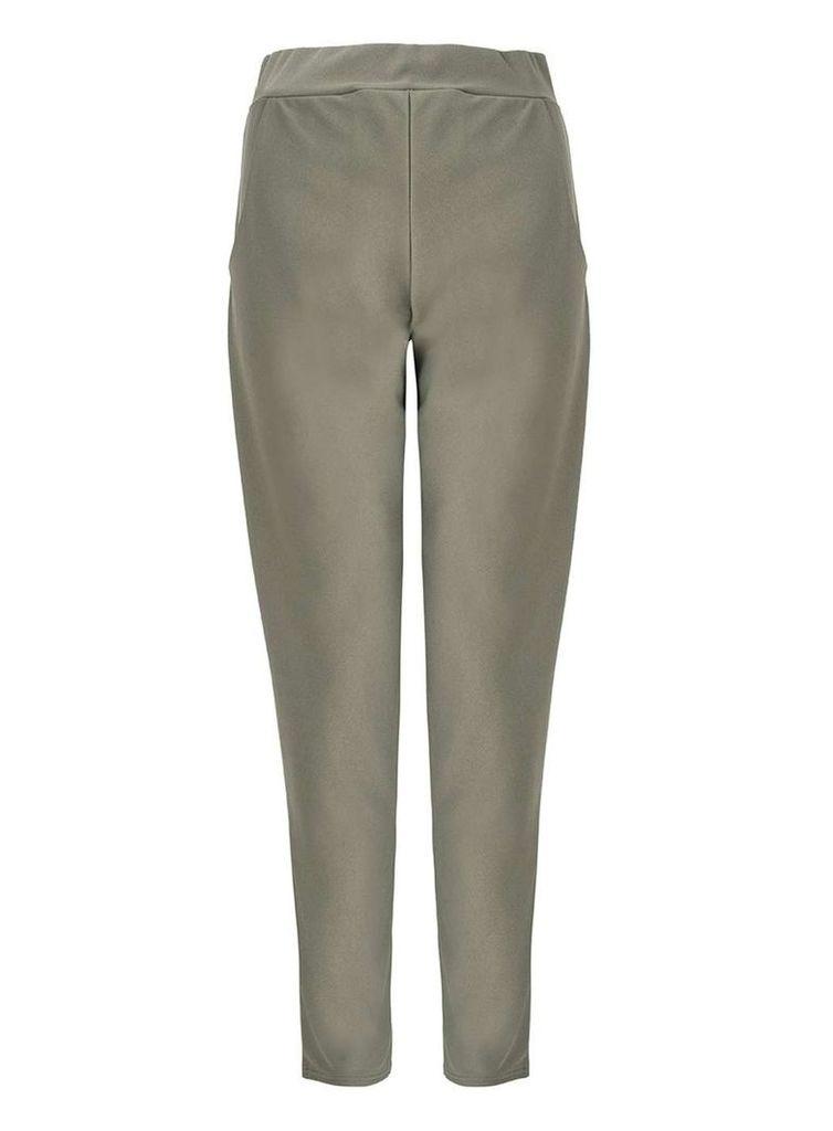 Womens *Quiz Khaki High Waist Trousers- Khaki
