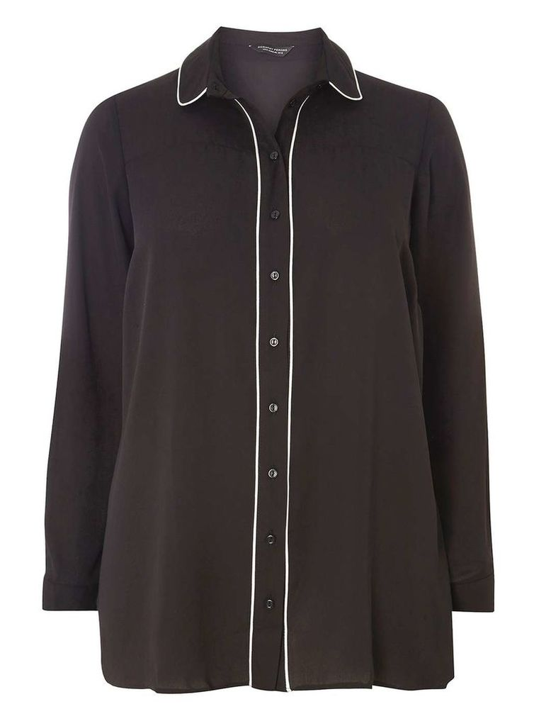 Womens DP Curve Plus Size Black Piped Collared Shirt- Black