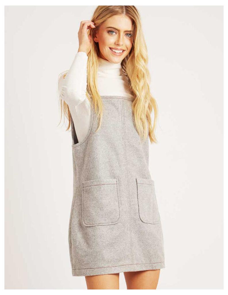 NICOLE - Stab Stitch Pinafore Dress Grey