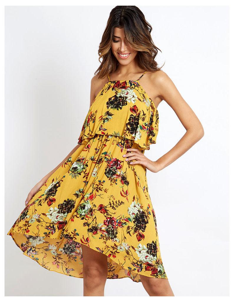 FLEUR - Floral Printed Mustard Dress