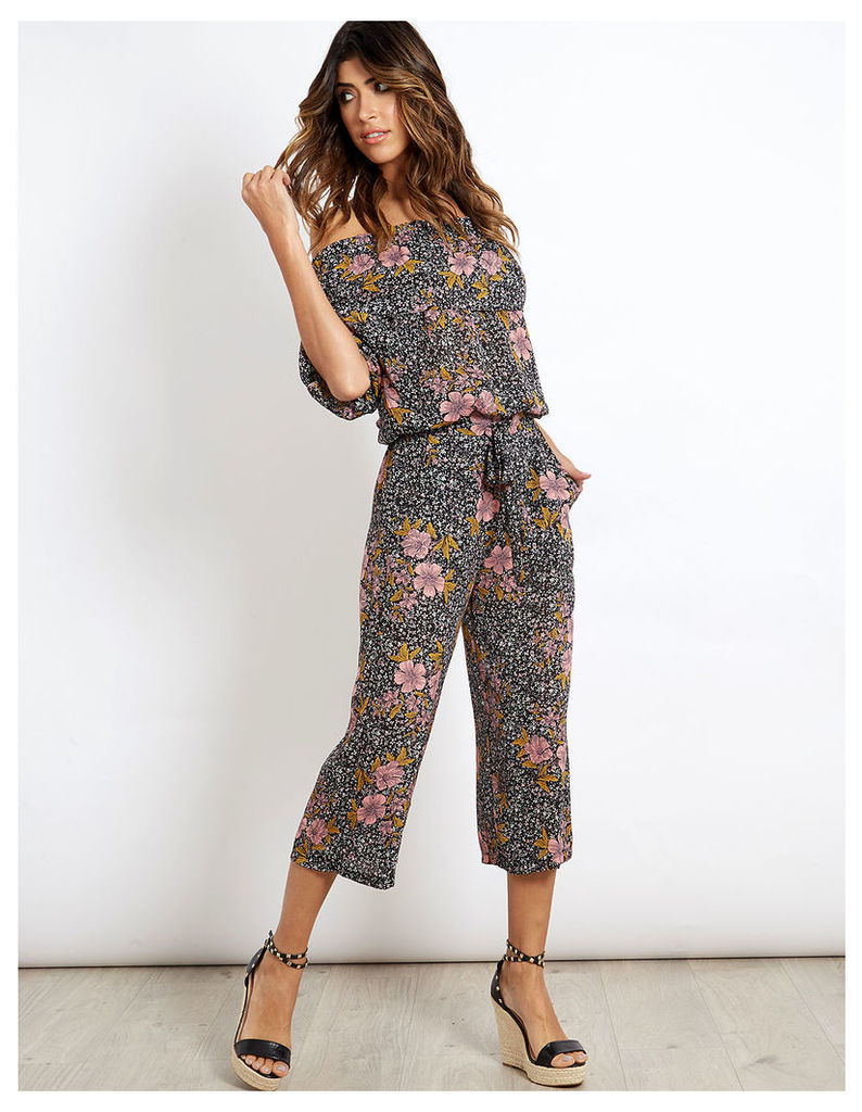 KASEY - Floral Print Culottes Pink