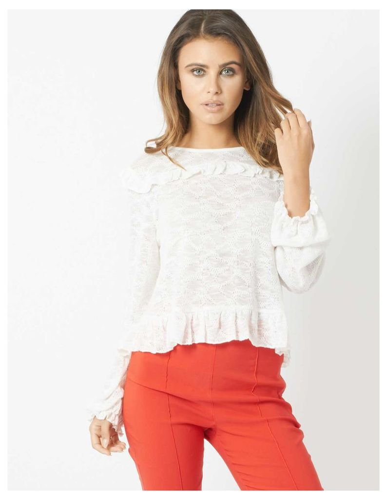 ROANNA - Mixed Fabric Frill Top White