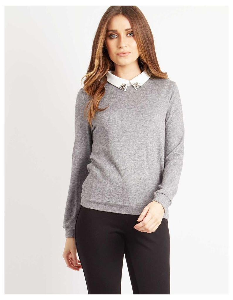 PORTIA - Embellished Collar 2 In 1 Sweater Grey