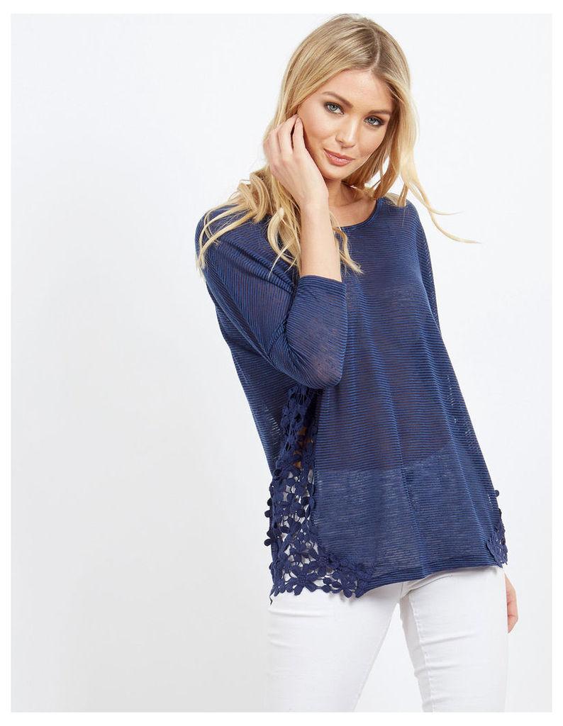 ELSIE - Crochet Insert Oversized Top