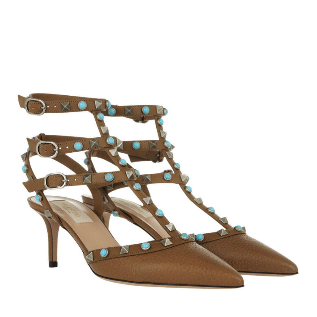 Valentino Pumps - Rockstud Ankle Strap Pump Bright Cuir - in brown - Pumps for ladies