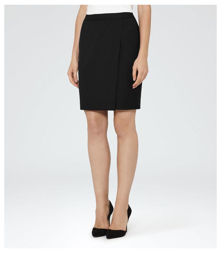 REISS Huxley Wrap Skirt - Womens Tailored Wrap Skirt in Black