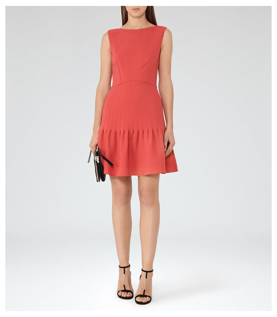 REISS Marisa - Womens Pin-tuck Dress in Red