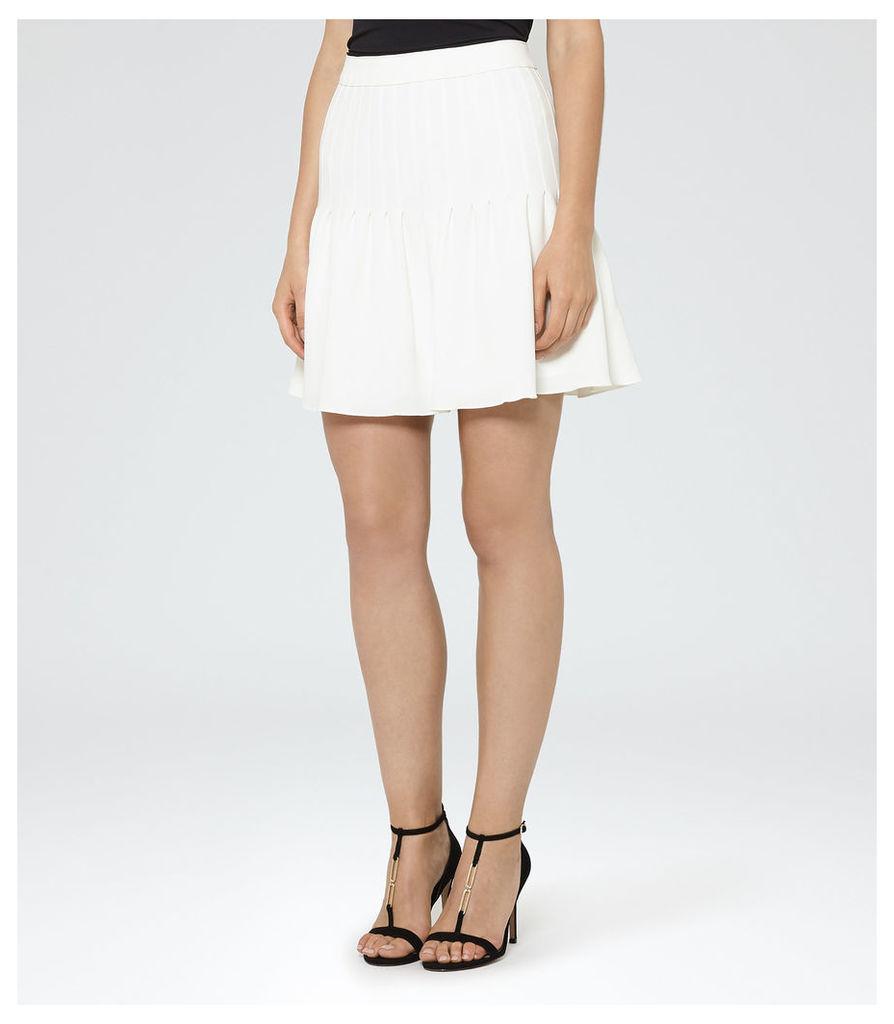 REISS Lexi - Womens Pin-tuck Mini Skirt in White