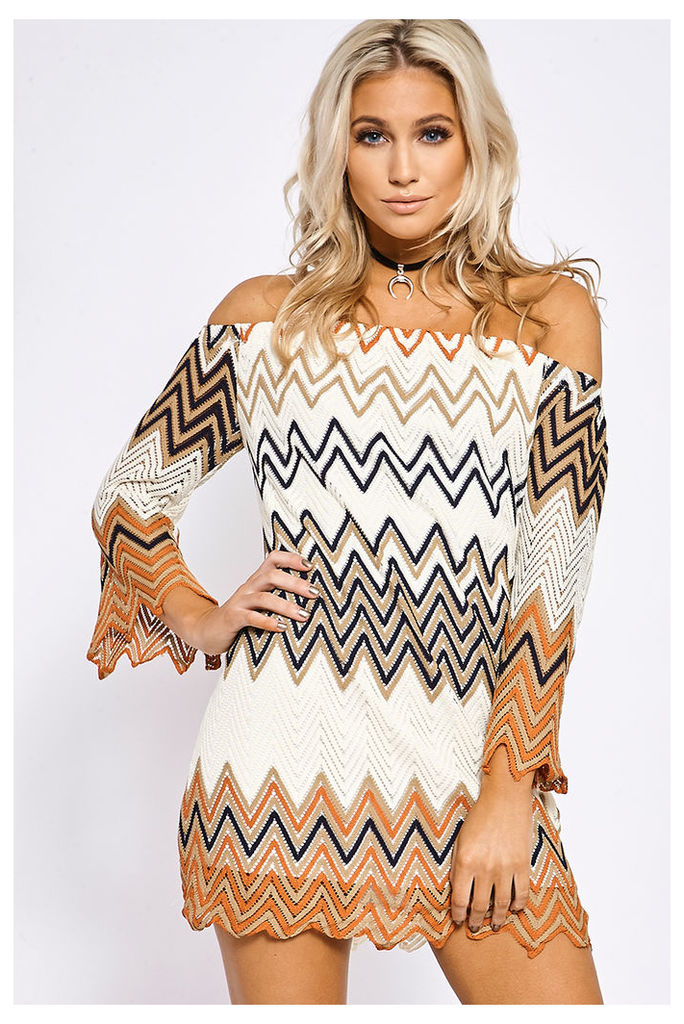 Cream/navy Dresses - Bailee Cream and Navy Crochet Off Shoulder Dress