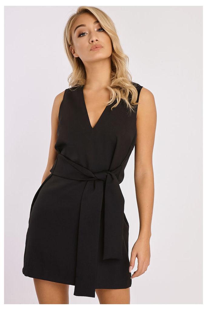 Black Dresses - Bellah Black Tie Waist Dress