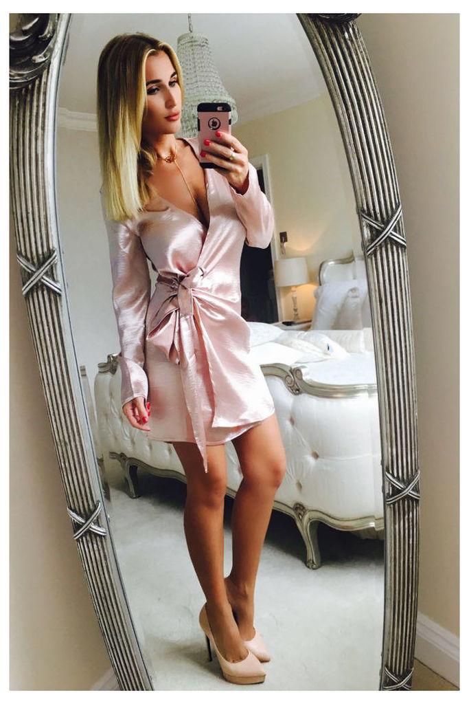 Pink Dresses - Billie Faiers Pink Metallic Satin Tie Side Shirt Dress